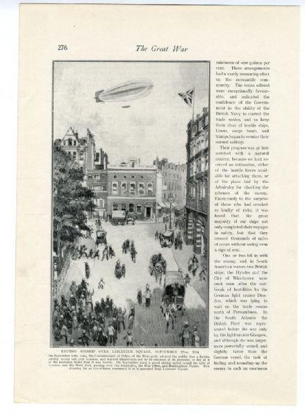 1914  WW1 PRINT Airship Over Leicester Square LONDON (276)